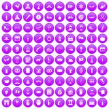 100 alcohol icons set purple. 100 alcohol icons set in purple circle isolated on white vector illustration vector illustration