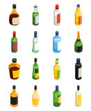 Alcohol Isometric Icon Set. Colored and isolated alcohol isometric icon set with different sizes and types of bottles vector illustration Royalty Free Stock Photos