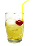 Alcohol john collins cocktail with lemon cherry Royalty Free Stock Images