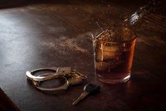 Alcohol Keys Handcuffs Stock Photo