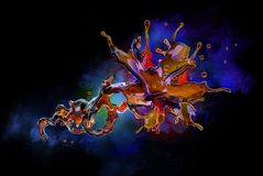 Alcohol, kola, koffie vloeibare plonsen met decoratieve druppeltjes, 3D Illustratie Royalty-vrije Stock Foto's