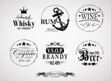 Alcohol labels Stock Photography