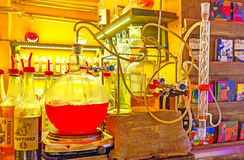 Alcohol laboratory in cafe stock photo