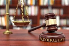 Alcohol law. Gavel and word  on sound block Stock Photo