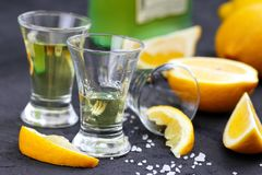 Alcohol lemon drink. In glass and fresh fruit Stock Images
