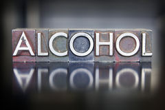 Alcohol Letterpress. The word ALCOHOL written in vintage lead letterpress type Royalty Free Stock Photo