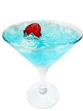 Alcohol liqueur blue curacao cocktail with cherry Stock Photo