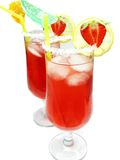 Alcohol liqueur punch cocktails with strawberry Stock Photos