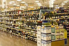 Alcohol liquor in store. Huge selection of alcohol in supermarket. Fred Meyer, Washington. Washington just passed the law allowing supermarkets to sell strong Stock Photo