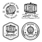 Alcohol logos.Wooden barrels set with drinks signs of cognac,brandy,whiskey,wine,beer.Labels, badges with sketched kegs. Stock Images