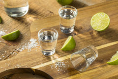 Alcohol Mezcal Tequila Shots. With Lime and Salt royalty free stock images