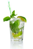 Alcohol mojito cocktail with fresh mint isolated Royalty Free Stock Photography