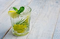 Alcohol mojito cocktil bar long drink fresh tropical beverage top view copy space highball glass, with rum, spearmint Stock Images