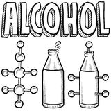Alcohol molecule and bottle sketch Stock Images