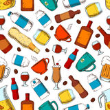 Alcohol and nonalcoholic drinks pattern Stock Image
