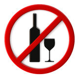 Alcohol not allowed. 3d render of alcohol not allowed sign Royalty Free Stock Images