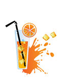 Alcohol orange cocktail with ice. Alcohol orange cocktail with ice on white background Stock Photo