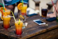 Alcohol orange daiquiri and cuba libre cocktail Royalty Free Stock Photo