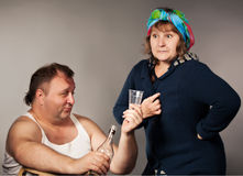 Alcohol originated the quarrel between man and woman Royalty Free Stock Images