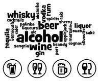 Alcohol. Overview of different kinds of alcohol drunk around the world Stock Photo