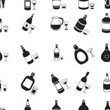 Alcohol pattern icons in black style. Big collection of alcohol vector symbol stock illustration Royalty Free Stock Photo
