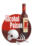 Alcohol poison. Horror-filled picture. Alcohol poison.  The dangers of alcoholism concept with a skull and bones near the bottle. Cartoon styled vector Stock Images