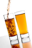 Alcohol pouring. Pouring alcohol in the glass Stock Photos