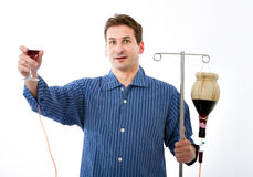 Alcohol problem in a crazy hospital. White background Stock Images