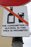 Alcohol Prohibited sign. No alcohol sign in town centre Royalty Free Stock Photography