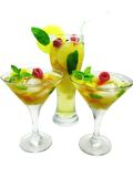 Alcohol punch cocktail drinks with mint Stock Image