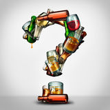 Alcohol Question. S and alcoholism information concept as a group of beer wine and hard liquor glasses shaped as a a question mark as a symbol for an alcoholic Stock Images