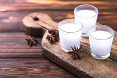 Alcohol Raki con los anis Arak turco, griego del aperitivo, Ouzo Imágenes de archivo libres de regalías