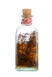 Alcohol of rosemary. Glass bottle of homemade medicine isolated in whait Royalty Free Stock Image