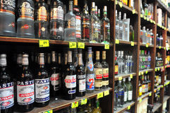 Alcohol - Sale of Liquor Act. ASHDOD, ISR - JULY 22:Alcoholic beverages in liquor store on July 22 2010.Alcohol consumed by humans since prehistoric times for Royalty Free Stock Photo