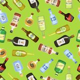 Alcohol seamless background with wine and cocktail bottles and glasses vector illustration. Beverage restaurant drink vector illustration
