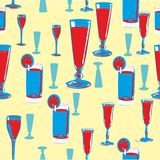 Alcohol seamless pattern. Stylized background pattern with alcohol drinks. Vector illustration Royalty Free Stock Photo