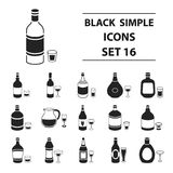 Alcohol set icons in black style. Big collection of alcohol vector symbol stock illustration Royalty Free Stock Image