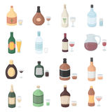 Alcohol set icons in cartoon style. Big collection of alcohol vector illustration symbol. Royalty Free Stock Image