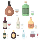 Alcohol set icons in cartoon style. Big collection of alcohol vector symbol stock illustration Stock Image