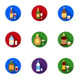 Alcohol set icons in flat style. Big collection of alcohol vector symbol stock illustration Stock Image