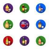 Alcohol set icons in flat style. Big collection of alcohol vector symbol stock illustration Royalty Free Stock Photography