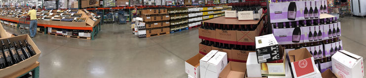 Alcohol on shelves for sale at Costco Stock Photos