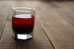 Alcohol shot drink two layers red and blue Stock Images