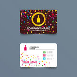Alcohol sign icon. Drink symbol. Bottle. Business card template with confetti pieces. Alcohol sign icon. Drink symbol. Bottle. Phone, web and location icons Stock Photos