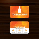 Alcohol sign icon. Drink symbol. Bottle. Business or visiting card template. Alcohol sign icon. Drink symbol. Bottle. Phone, globe and pointer icons. Vector Stock Photos