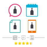 Alcohol sign icon. Drink symbol. Bottle. Calendar, chat speech bubble and report linear icons. Star vote ranking. Vector Stock Image