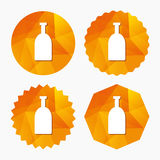 Alcohol sign icon. Drink symbol. Bottle. Triangular low poly buttons with flat icon. Vector Stock Photos