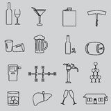 Alcohol simple outline black icons set Royalty Free Stock Photography