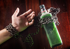 Alcohol slave, alcoholism man. Social issue,problem,addiction concept Stock Photos