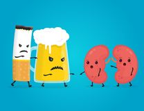 Alcohol  and smoke kill kidneys. Stop drink. Concept. Angry scary glass of beer and cigarette kill kidneys. Vector flat cartoon character illustration. Isolated Stock Photos